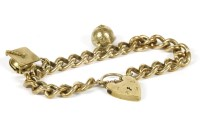 Lot 1-A 9ct gold curb link bracelet with padlock