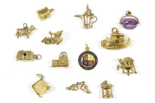 Lot 6-Thirteen gold charms