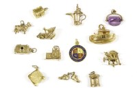 Lot 6-Thirteen gold charms