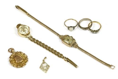 Lot 18-A ladies 9ct gold Arnex mechanical strap watch
