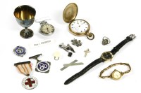 Lot 39-A collection of jewellery to include a stainless steel Ingersoll Triumph fob watch