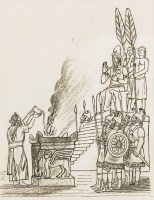 Lot 1015-*Edward Bawden RA (1903-1989) 'AHAZ BEFORE THE ALTAR' - ILLUSTRATION TO KINGS II