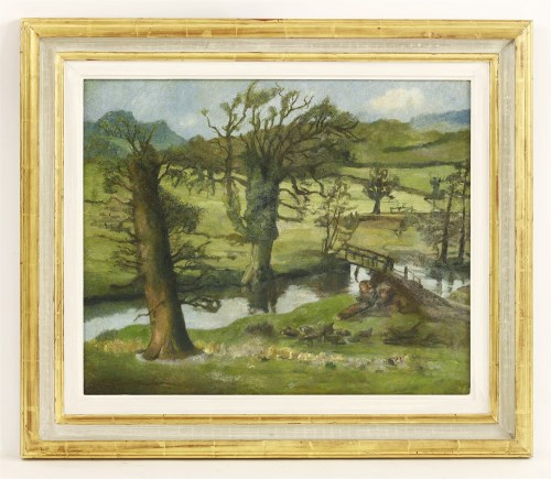 Lot 1180-Attributed to Lucian Freud (1922-2011) A SUFFOLK SPRING LANDSCAPE WITH WELSH MOUNTAINS BEYOND