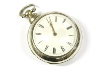 Lot 16-A late 18th century silver pair cased pocket watch