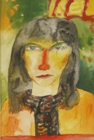 Lot 1012-*John Bellany RA (1942-2013) A WOMAN IN A RED SCARF Signed l.r.