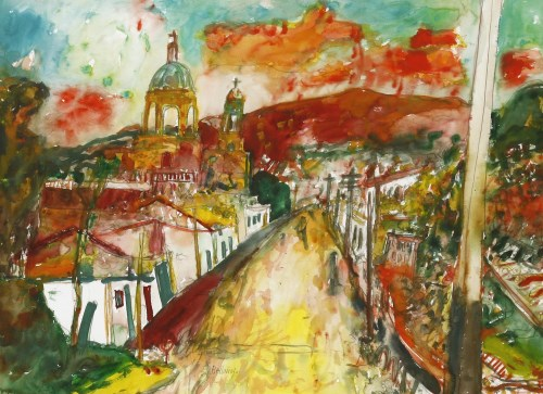Lot 1013 - *John Bellany RA (1942-2013) A VIEW OF AN ITALIAN TOWN Signed l.c.