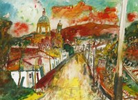 Lot 1013-*John Bellany RA (1942-2013) A VIEW OF AN ITALIAN TOWN Signed l.c.