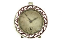 Lot 15-A silver and enamelled bedside clock