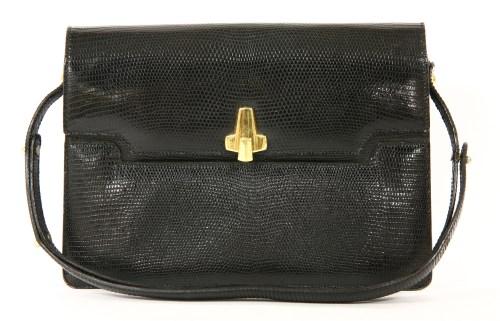 Lot 1005-A vintage Asprey of London black lizard-skin handbag