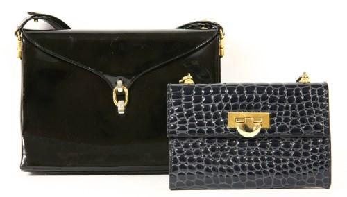 Lot 1009-An Aquascutum black patent handbag