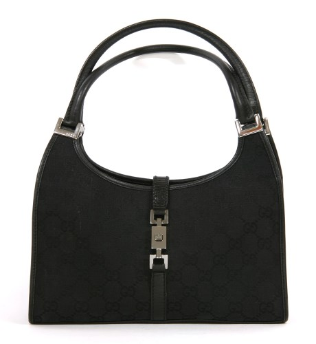 Lot 1011-A Gucci 'Jackie' black canvas shoulder bag