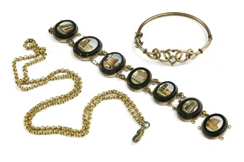 Lot 35-A Victorian rolled gold micro mosaic bracelet