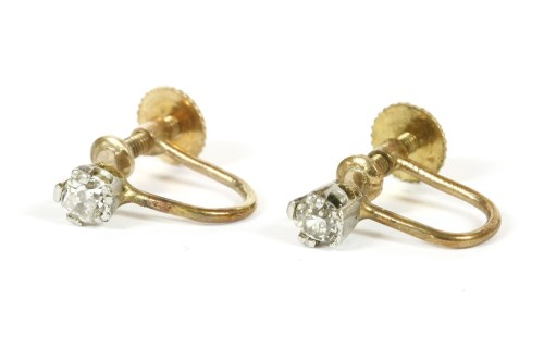 Lot 16-A pair of single stone cushion cut and old Swiss cut diamond screw back earrings