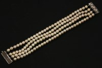 Lot 42 - A four row uniform cultured pearl bracelet
