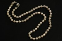 Lot 5-A single row uniform semi Baroque cultured pearl necklace