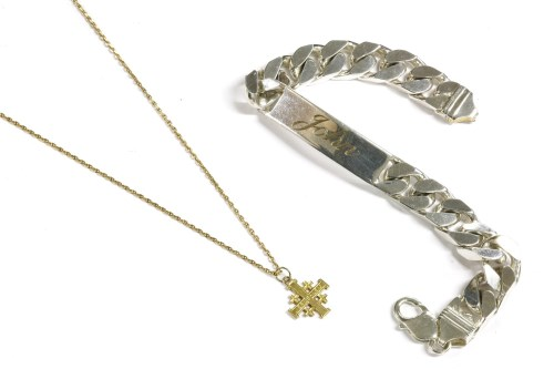 Lot 3-A gold Jerusalem cross on chain