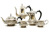 Lot 90 - A possibly Indian white metal five piece tea service