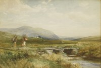 Lot 720-David Bates (1840-1921)  A LANDSCAPE WITH WOMEN CARRYING KINDLING ACROSS A STONE BRIDGE  Signed and dated 1900 l.l.