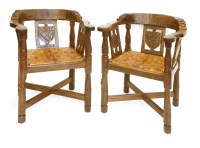 181 - A pair of Robert 'Mouseman' Thompson monk's armchairs