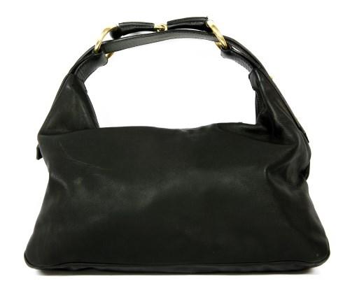 Lot 1013-A Gucci black leather horse bit handbag