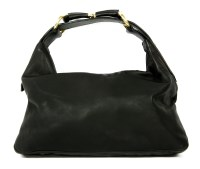 Lot 1013-A Gucci black leather horse bit handbag