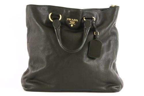 Lot 1017-A Prada black leather handbag