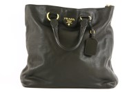 Lot 1017-A Prada black leather handbag