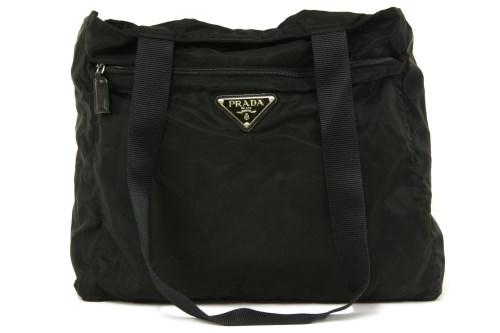 Lot 1018-A Prada black canvas shopper handbag