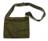 Lot 1100 - A Prada khaki green canvas messenger handbag