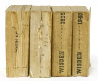 Lot 12-Wisden's Cricketers' Almanack: 1- 1930 (67th. year). Original wrappers; PP: 740; Spine chipped with loss; damp stain to bottom of rear covers and last two pages of adverts; block little loose; 2- 1932