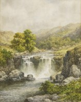 Lot 721-Charles A Bool (19th/20th century) AN HIGHLAND RIVER LANDSCAPE WITH A WATERFALL A pair