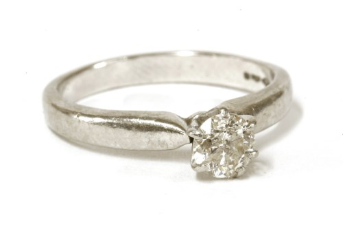 Lot 6-A platinum single stone brilliant cut diamond solitaire ring