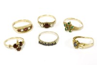 Lot 33-Six assorted rings to include a 9ct gold three stone garnet and cultured pearl ring