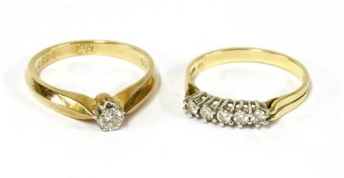 Lot 23-A gold single stone diamond ring