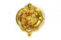 Lot 27-A Victorian style continental gold floral spray brooch with scroll border
