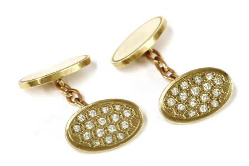 Lot 8-A pair of 9ct gold oval diamond chain link cufflinks
