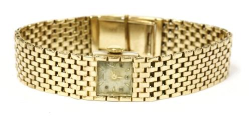 Lot 4-A 9ct gold ladies Swiss mechanical bracelet watch