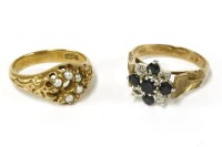 Lot 40-A 9ct gold sapphire and illusion set diamond cluster ring