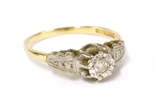 Lot 19-An Edwardian style gold single stone diamond ring