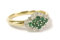Lot 16-A 9ct gold emerald and diamond lozenge shaped cluster ring