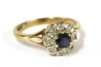 Lot 30-A 9ct gold sapphire and diamond cluster ring