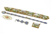 Lot 39-A Norwegian silver blue and black enamel bracelet