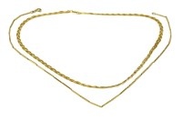 Lot 1-Two 9ct gold necklaces including a bar link example