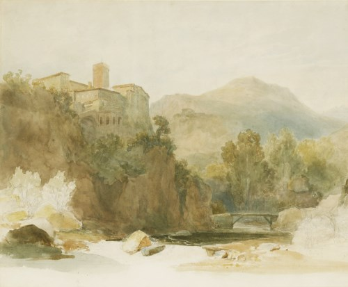 Lot 714-Henry Swinburne (1743-1803) AN ITALIAN HILL TOWN WITH A CASCADE AND BRIDGE Watercolour 34 x 40cm  ...