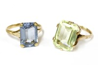 Lot 29-A 9ct gold single stone step cut green synthetic spinel ring