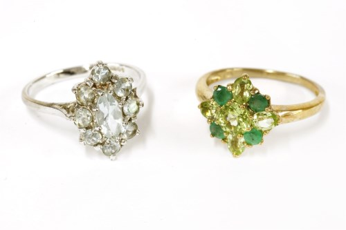 Lot 18-A 9ct gold peridot and emerald cluster ring