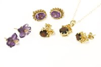Lot 46-Three pairs of assorted earrings