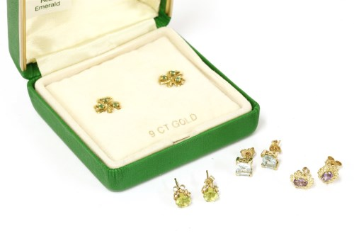 Lot 48-A collection of stud earrings