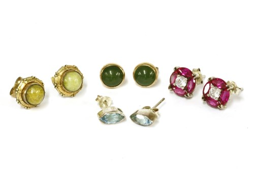 Lot 45-A pair of 9ct gold nephrite cabochon stud earrings