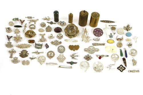 Lot 62-A collection of brooches and a patent wax vesta